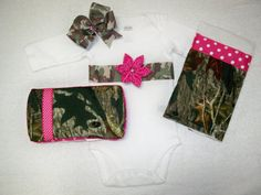 Items similar to Personalized Pink Camo Baby Girl 4 Piece Gift Set - Onesie, Hairbow, Burp Cloth, and Bib - Baby Girl Pink and Camo on Etsy