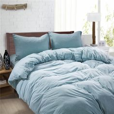 MUJI Style Green Solid Color Bedding Duvet Cover by Cozyhomess