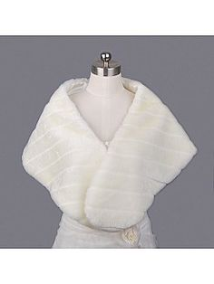 Ivory Faux Fur Bridal Wrap with Single Chinese Button - USD $11.99
