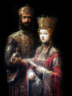 John II Komnenos and Irene of Hungary. Art by Antoine Helbert.