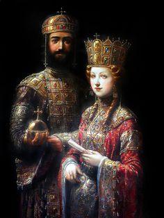 John II Komnenos and Irene of Hungary. Art by Antoine Helbert.