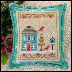 "Snow Place 4. Gráfico de la colección de Country Cottage Needleworks ""Snow Place like home"" en www.lacasinaroja.com"