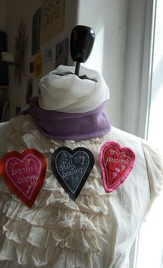 silk heart brooches by Julia Laing