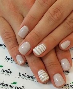 neutral nails with accent - neutral nails . neutral nails with sparkle . neutral nails with accent . neutral nails for pale skin . Short Nail Designs, Gel Nail Designs, Cute Nail Designs, Striped Nail Designs, Nails Design, Striped Nails, Neutral Nail Designs, Design Design, Design Ideas