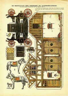 cut out house drawn buggy with barn vintage paper house printables