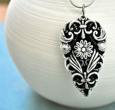 Victorian flower pendant- porcelain jewelry in black and white | by charityhofert
