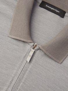 Grey polo shirt Short sleevesZip closurePique details on.Discover Grey Polo Shirt and shop online Ermenegildo Zegna Polo Shirt Outfits, Polo Outfit, Mens Polo T Shirts, Grey Polo Shirt, Boys T Shirts, Polo Shirt Style, Polo Shirt Design, Polo Design, Motif Polo