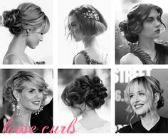 "Sarah would prefer if we styled our hair ""up and curly"" for the wedding so I thought I would pin some ideas that I found.  So soon!"