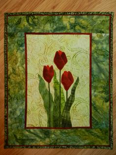 Red Tulip Quilted hanging