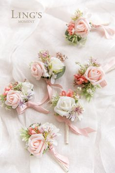 Spring Wedding - Elegant Blush Pink Boutonnieres, Made With Small Rose. Bridal Flowers, Flower Bouquet Wedding, Boquet, Cake Flowers, Elegant Wedding, Diy Wedding, Wedding Ideas, Pink Boutonniere, Boutonnieres