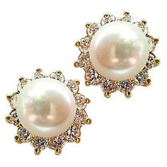 Faux Pearl Stud Earrings White 24k Yellow Gold Plated Cubic Zirconia e815g