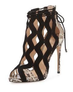 Alexandre Birman Loretta Python & Suede Cutout Sandal