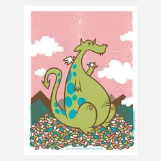 Dragon Of Jellybean Mountain, print for kids rooms.