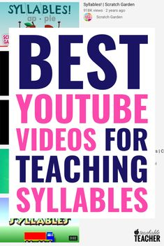 These are the BEST vidoes to teach syllables on YouTube. Whether you are looking for new ideas or just want to add some fun activities to your preschool, kindergarten or first grade classroom. Practice counting and breaking words into syllables with these engaging vidoe ideas.
