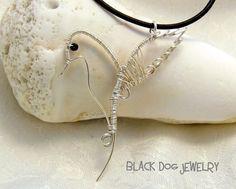 Hummingbird Silver Wire Necklace | BlackDogJewelry - Jewelry on ArtFire