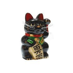 """Black Color, Maneki Neko Lucky Cat w/ Left Hand Raised, 10""""H ($33) ❤ liked on Polyvore featuring home, home decor, fillers, decor, other, objects and black home decor"""