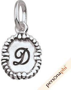 "Zales PersonaPhi® Sterling Silver Cursive Initial ""D"" Roped Oval Amulet"