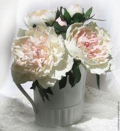 Купить Букет пионов - белый, пионы, букет пионов, пионы из фоамирана, цвет слоновой кости