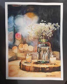 """좋아요 79개, 댓글 14개 - Instagram의 Youyeong.Seo(@blibla_art)님: """"분위기깡패😎 . #lovely #sweet #candles #flowers #lights #night #watercolorpainting #watercolor…"""""""