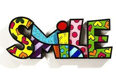Romero Britto Word Art Collection - SMILE Figurine - Polyresin NEW #331486