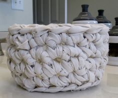 Simply White Crocheted Basket by DesignsbyDEWaltz on Etsy, $12.00
