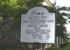 Old Post Road - Lower Susquehanna Ferry - Rodgers' Tavern Perryville, Cecil County MD 7 at entrance to V.A. Hospital