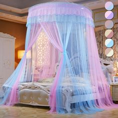 CTYJS Dome Princess Bed Canopy,Round Lace Mosquito Net Play Tent,Romantic Ruffle Netting Curtains,Portable Bed Drapes,for Home Decoration Travel C Bunk Bed Tent, Twin Canopy Bed, Princess Canopy Bed, Bedroom Drapes, Canopy Curtains, Diy Lace Canopy, Lace Curtains, Pink Bedroom Decor, Bedroom Vintage