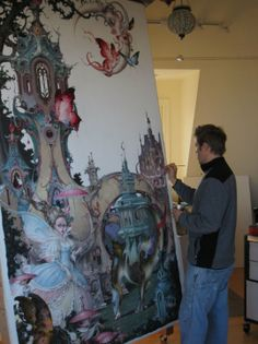 """""""Most of the under-painting is done. This is the largest piece I've ever done, it's 8' tall x 5' wide , and it will be unveiled at my opening reception at Animazing Gallery in New York in May 2010."""" - Daniel Merriam (himself)"""