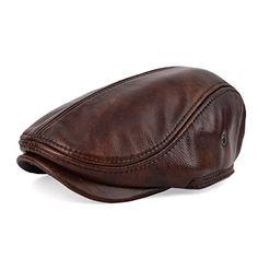 VOBOOM Vintage Flat Cap Cabby Hat Genuine Leather Newsboy Cap Ivy Driving  Beret Cap 719 ( 092c93abdedc