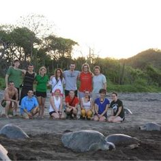 "Sea turtles at sunset--The ENWC students in Costa Rica witnessed a rare event on Friday: ""We set out in search of baby sea turtles hatching and found over 800 females coming onto the beach to lay their eggs. This event only occurs 3 days in a month for only a few months and we were so thrilled to have seen it!"""