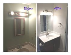 New fixture, new surface, paint cabinet, new mirror about $100 flip- House in Ohio
