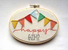 Custom hand embroidery wedding date signage carnival wedding decor embroidery hoop art - wall art photo prop. $46.00, via Etsy.