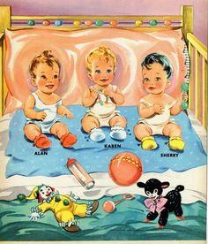 BABY PARADE Paper Dolls ~ Alan ~ Karen ~ Sherry ~ Bedtime 1950s Lowe Publishers <<>> 8 of 8