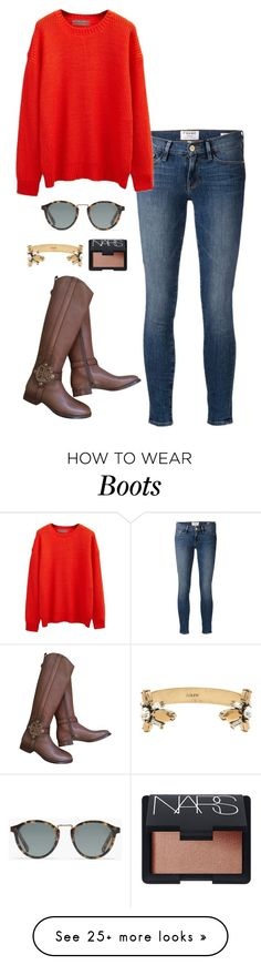 """""""riding boots"""" by kcunningham1 on Polyvore featuring Frame Denim, Tory Burch, Madewell, NARS Cosmetics, J.Crew, women's clothing, women, female, woman and misses"""