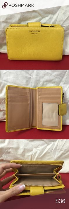 Authentic Coach Wallet for Women An authentic Coach leather wallet! It's a very pretty yellow   Usage as shown  10% off on 2+ Let's bundle!!   All of my listings are  authentic!! Coach Bags Wallets