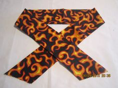 """Extra Wide 3"""" Reusable Non-Toxic Cool Wrap / Neck Cooler  - Motorcycles/Goth - Yellow/Orange Flames by ShawnasSpecialties on Etsy"""