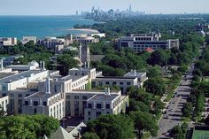Northwestern University's Evanston campus looking towards Chicago (Chicago Pin of the Day, 2/20/2015).