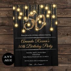 Gold Glitter Fifty and Fabulous 50th Birthday Invitations DI444