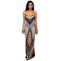 Ladies Sleeveless Neon Stripe Aztec Print Women/'s Long Maxi Summer Dress 8-14