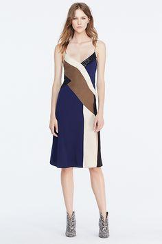 DVF Frederica Colorblock Silk Slip Dress
