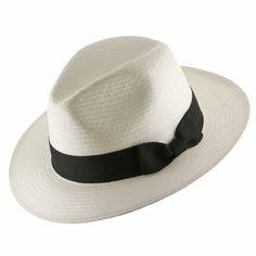 Ultrafino Trilby Straw Fedora WHITE Panama Hat 7