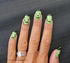 Fun Frankenstein Nail Art #Manicure