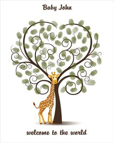 Baby Shower Guest Book Giraffe Fingerprint by CustombyBernolli