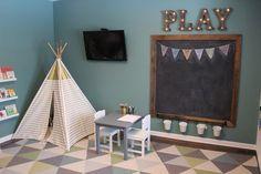 Color for playroom - chalkboard - teepee- triangle rug- teal playroom