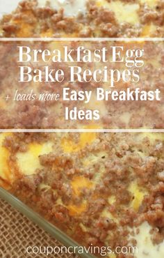 The best quick and easy breakfast recipes for busy families including egg breakfast casseroles, breakfast breads, fruit breakfasts and more. Egg Recipes For Breakfast, What's For Breakfast, Quick And Easy Breakfast, Breakfast Items, Breakfast Dishes, Brunch Recipes, Breakfast Casserole, Kitchen Recipes, Cooking Recipes