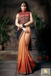 #Black and Orange, #Georgette, #Designer, #Party Saree, #Buy Saree, #Heavy Saree, #Stylish Saree, #Indian Fashion Saree, #Embroidery work, #Printed work, #Lace patti work, #Fashionable, #Designer. More Product: http://www.pavitraa.in/store/georgette-saree/ Any Query: Call / WhatsApp : +91-76982-34040  E-mail: info@pavitraa.in