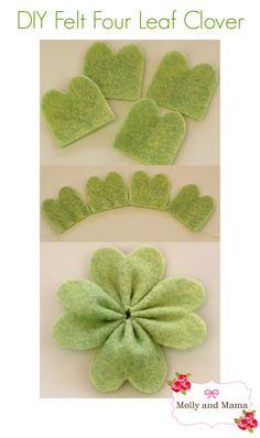 DIY Felt Four Leaf Clover for Saint Patrick's Day - felt shamrock craft tutorial by Molly and Mama