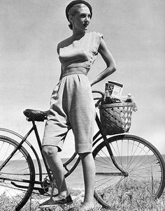 Model in McCardell's wool jersey bicycle outfit, photo by Louise Dahl-Wolfe, Harper's Bazaar, 1949