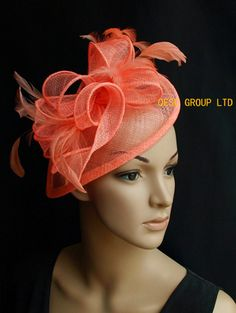 Coral orange pink sinamay fascinator hat with sinamay twist&feather for Wedding,Ascot Races,Party,Kentucky Derby,Melbourne Cup.