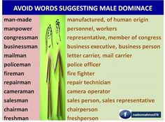 Words suggesting Male dominace